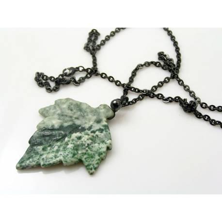 Natural Carved Gemstone Leaf Necklace