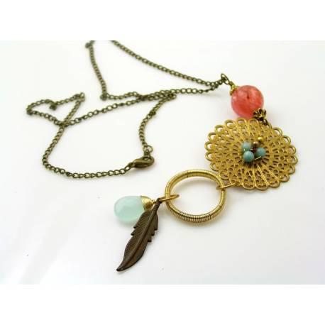 Boho Necklace, Wire Wrapped Brass
