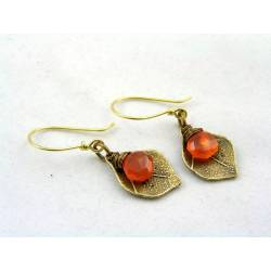 Carnelian Leaf Earrings