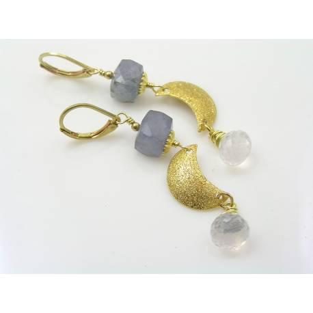 Iolite and Ice Quartz Crescent Moon Earrings