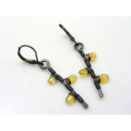 Heliodor Earrings, Yellow Beryl Branch Earrings
