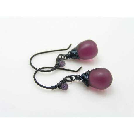Matte Purple Czech Glass Teardrop Earrings