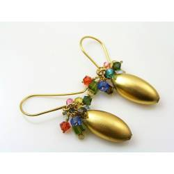 Matte Golden Drop Earrings with Swarovski Crystals