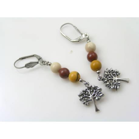 Tree of Life Earrings, Mookaite