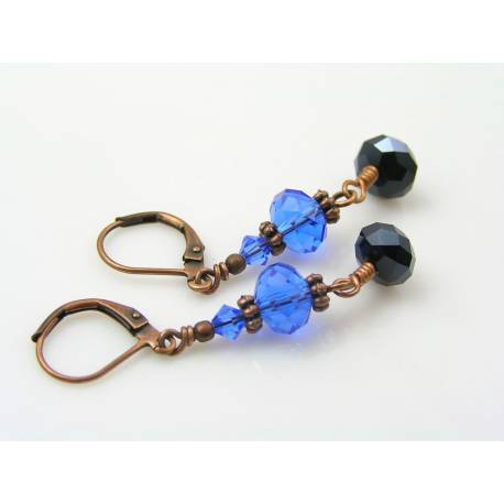 Blue Crystal Copper Earrings