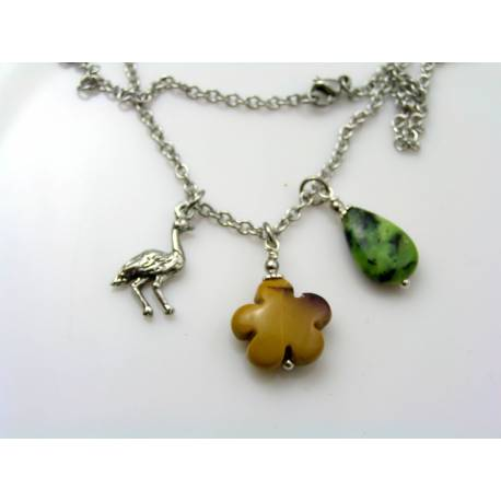 Emu Charm and Australian Gemstone Necklace