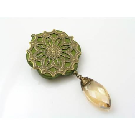 Ornate Crystal Brooch