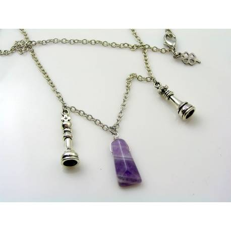 Chess Pieces, King and Queen, Chevron Amethyst