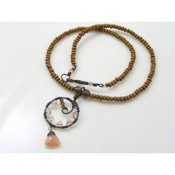 Moonstone, Crystal and Wood Necklace
