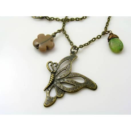 Australia Necklace with Kangaroo Charm, Chrysoprase and Mookaite