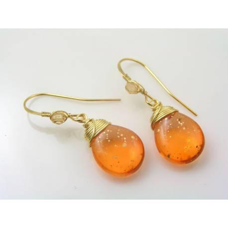 Shimmering Golden Orange Earrings