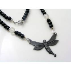 Black Onyx Necklace with Fairy Pendant