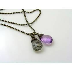 Amethyst and Rutilated Quartz Necklace