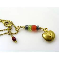 Apple Charm and Gemstone Necklace