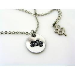 Hand Stamped Motorcycle Necklace