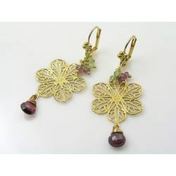Golden Filigree Earrings with Rhodolite Garnet and Peridot