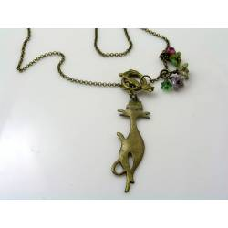 Cat Charm Necklace with Czech Flowers