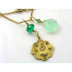 Chalcedony and Crystal Initial Necklace