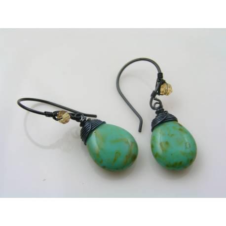 Large Mottled Green Czech Glass Drop Earrings