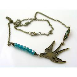 Bird Necklace, Crystals