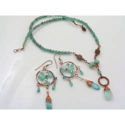 Blue Gemstone Copper Necklace and Earring Set