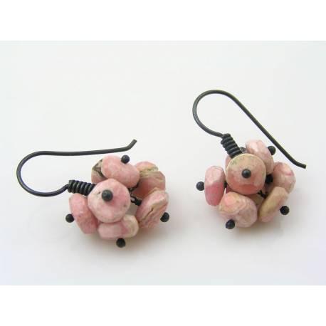Rhodochrosite Pom Pom Earrings