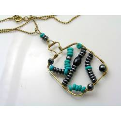 Wire Wrapped Turquoise and Hematite Pendant Necklace