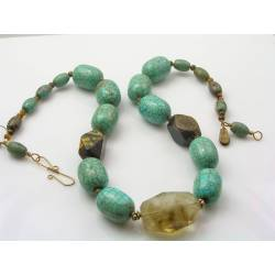 African Turquoise, Tiger's Eye and Quartz Necklace