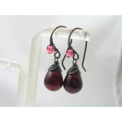 Smooth Siam Red Czech Glass Teardrop Earrings
