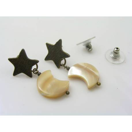 Mother of Pearl Crescent Moon on Old Brass Star Stud Earrings