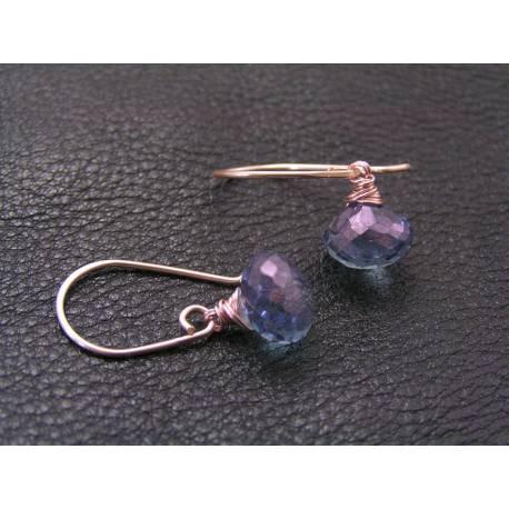 Blue Quartz Rose Gold Earrings