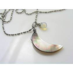 Mother-of-Pearl Crescent Moon Necklace