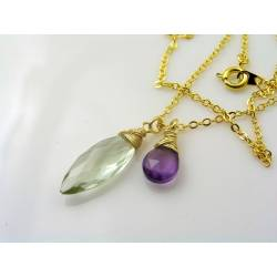 Prasiolite and Amethyst Necklace