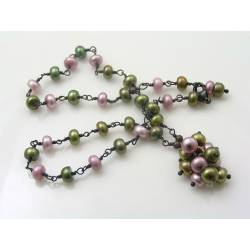 Olivine and Pink Freshwater Pearl Necklace