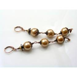 Copper Earrings with Acrylic Pearls