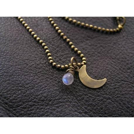 Crescent Moon Necklace with Rainbow Moonstone and wire wrapped Amethyst