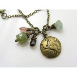 World Globe, Vesuvianite, Tourmaline and Aquamarine Charm Necklace