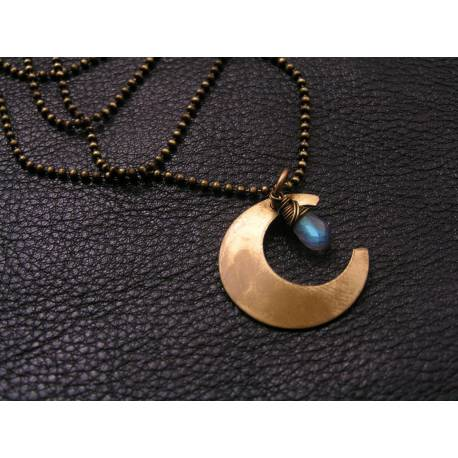 Crescent Moon and Labradorite Necklace