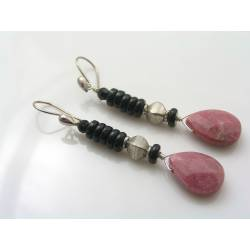 Rhodonite and Black Onyx Earrings