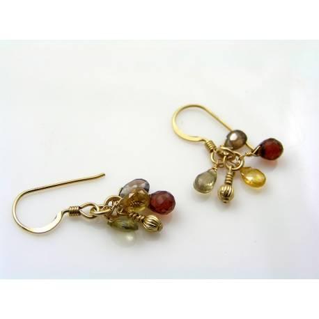 Gemstone Gold Filled Earrings, Sapphire and Garnet