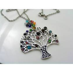 Crystal Set Tree of Life Necklace, Handmade