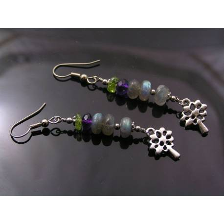 Tree of Life Earrings with Labradorite, Amethyst and Peridot