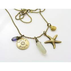 Life's a Beach, Ocean Charm Necklace with Iolite and Moonstone