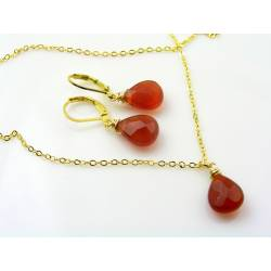 Red Agate Earrings and Necklace Set