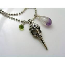 Gothic Raven Skull Necklace with Amethyst and Peridot