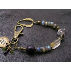 Inspirational 'Live Your Dream' Bracelet with Moonstone, Amethyst, Labradorite and Peridot