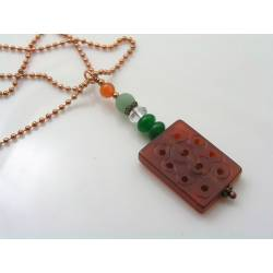 Carved Lucky Carnelian Bead Necklace