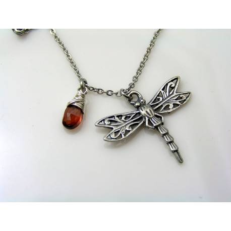 Dragonfly and Garnet Necklace