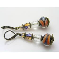 Orange and Blue Murano Style Czech Glass Bead Earrings