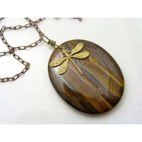 Tiger Iron Necklace, Ironstone Necklace with Leaf Charm